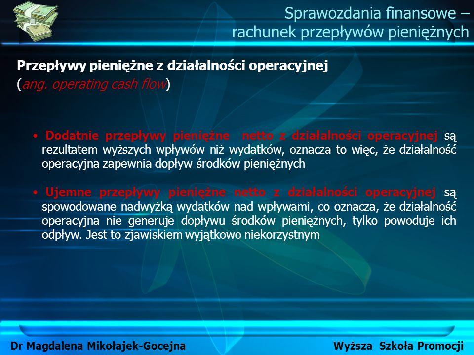 Przepływy pieniężne z działalności operacyjnej (ang. operating cash flow) Sprawozdania finansowe – rachunek przepływów pieniężnych Dr Magdalena Mikoła