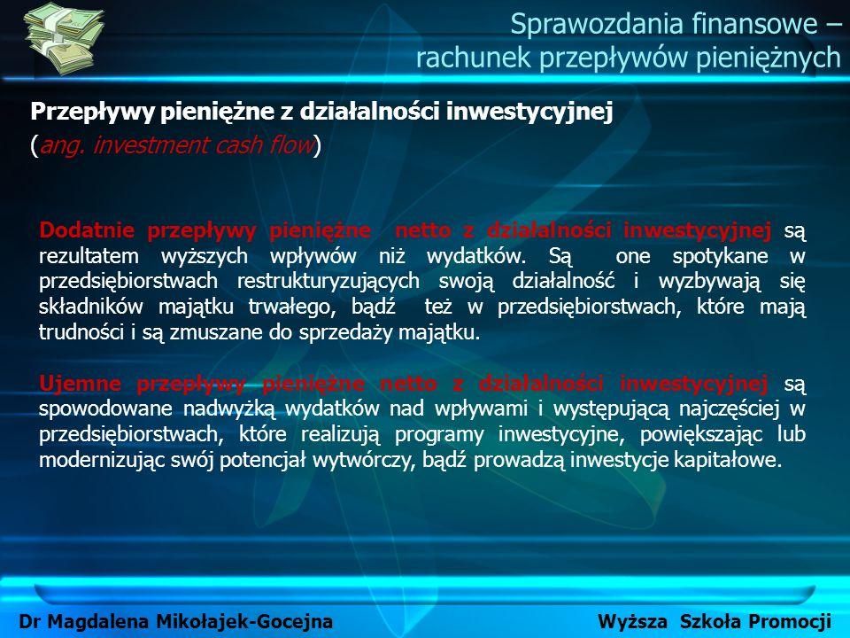 Sprawozdania finansowe – rachunek przepływów pieniężnych Dr Magdalena Mikołajek-Gocejna Wyższa Szkoła Promocji Przepływy pieniężne z działalności inwe