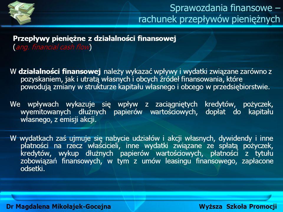 Dr Magdalena Mikołajek-Gocejna Wyższa Szkoła Promocji W działalności finansowej należy wykazać wpływy i wydatki związane zarówno z pozyskaniem, jak i