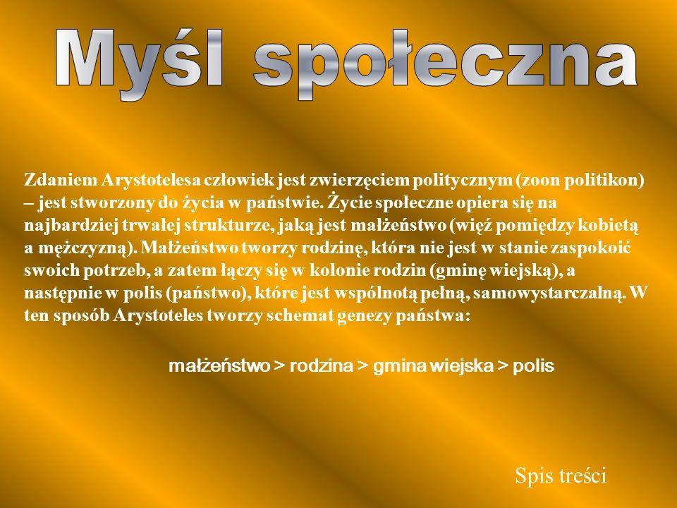 Zdaniem Arystotelesa człowiek jest zwierzęciem politycznym (zoon politikon) – jest stworzony do życia w państwie. Życie społeczne opiera się na najbar