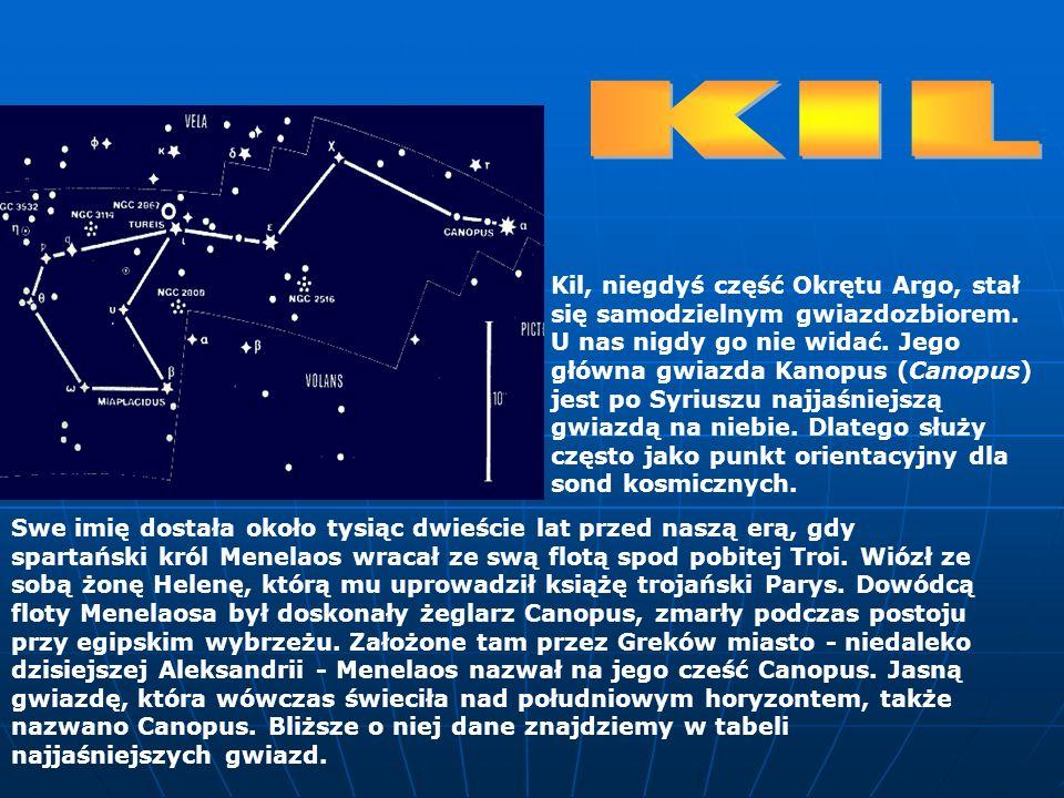 Kil, niegdyś część Okrętu Argo, stał się samodzielnym gwiazdozbiorem. U nas nigdy go nie widać. Jego główna gwiazda Kanopus (Canopus) jest po Syriuszu