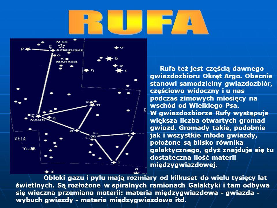 Rufa też jest częścią dawnego gwiazdozbioru Okręt Argo. Obecnie stanowi samodzielny gwiazdozbiór, częściowo widoczny i u nas podczas zimowych miesięcy