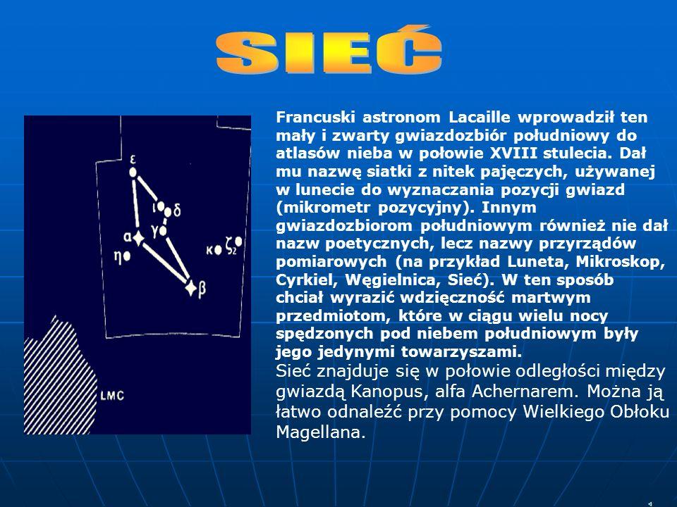 Francuski astronom Lacaille wprowadził ten mały i zwarty gwiazdozbiór południowy do atlasów nieba w połowie XVIII stulecia. Dał mu nazwę siatki z nite