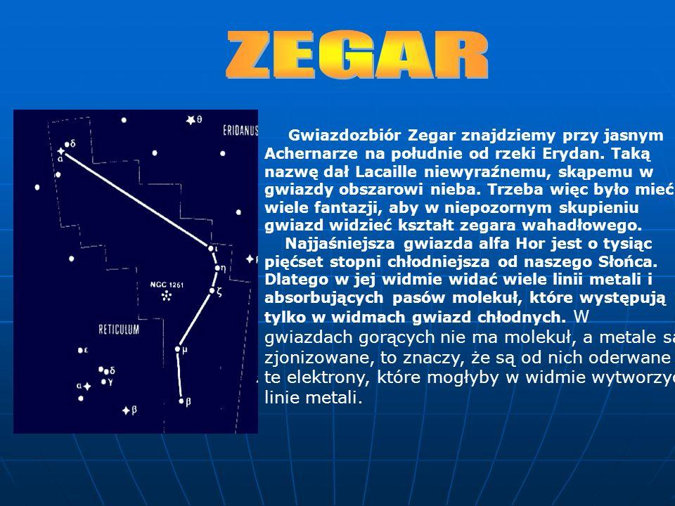 Gwiazdozbiór Zegar znajdziemy przy jasnym Achernarze na południe od rzeki Erydan. Taką nazwę dał Lacaille niewyraźnemu, skąpemu w gwiazdy obszarowi ni