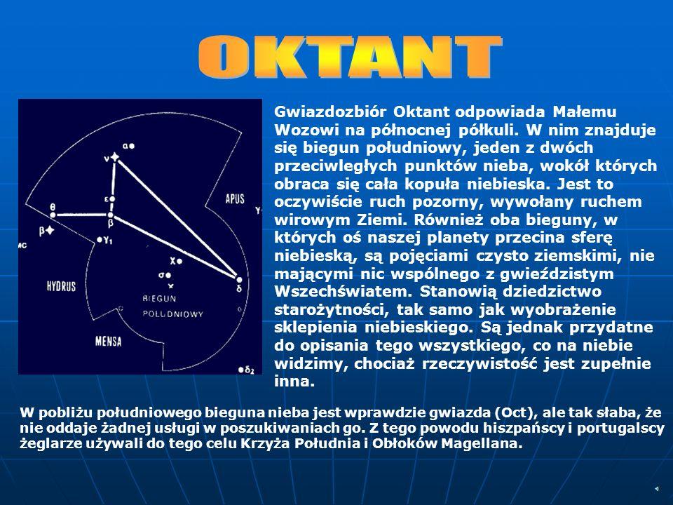 Gwiazdozbiór Oktant odpowiada Małemu Wozowi na północnej półkuli. W nim znajduje się biegun południowy, jeden z dwóch przeciwległych punktów nieba, wo