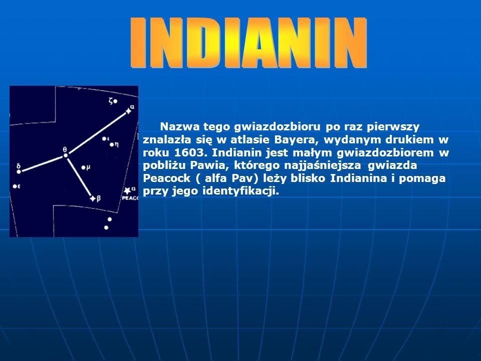 Nazwa tego gwiazdozbioru po raz pierwszy znalazła się w atlasie Bayera, wydanym drukiem w roku 1603. Indianin jest małym gwiazdozbiorem w pobliżu Pawi