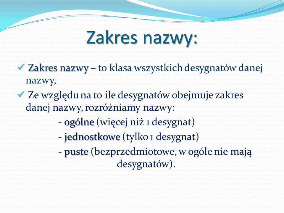 Zakres nazwy: Zakres nazwy Zakres nazwy – to klasa wszystkich desygnatów danej nazwy, Ze względu na to ile desygnatów obejmuje zakres danej nazwy, rozróżniamy nazwy: ogólne - ogólne (więcej niż 1 desygnat) jednostkowe - jednostkowe (tylko 1 desygnat) puste - puste (bezprzedmiotowe, w ogóle nie mają desygnatów).