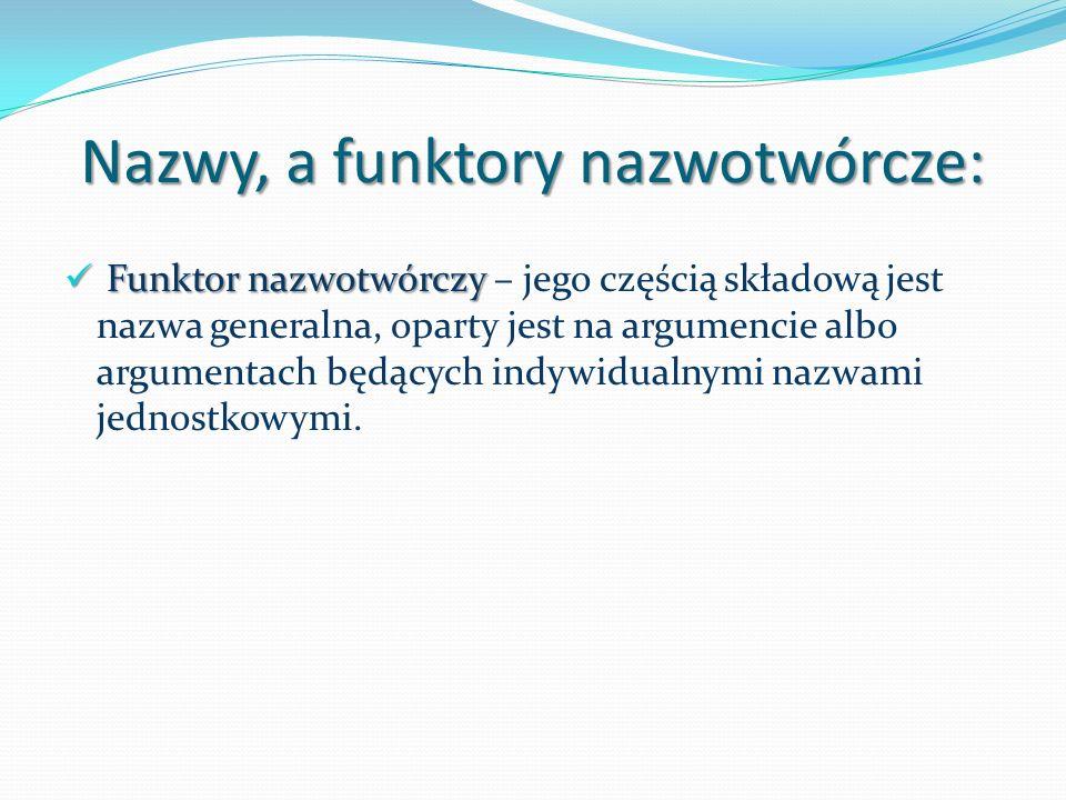 Nazwy, a funktory nazwotwórcze: Funktor nazwotwórczy Funktor nazwotwórczy – jego częścią składową jest nazwa generalna, oparty jest na argumencie albo argumentach będących indywidualnymi nazwami jednostkowymi.