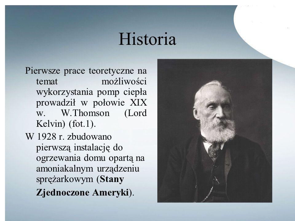 Historia Pierwsze prace teoretyczne na temat możliwości wykorzystania pomp ciepła prowadził w połowie XIX w. W.Thomson (Lord Kelvin) (fot.1). W 1928 r