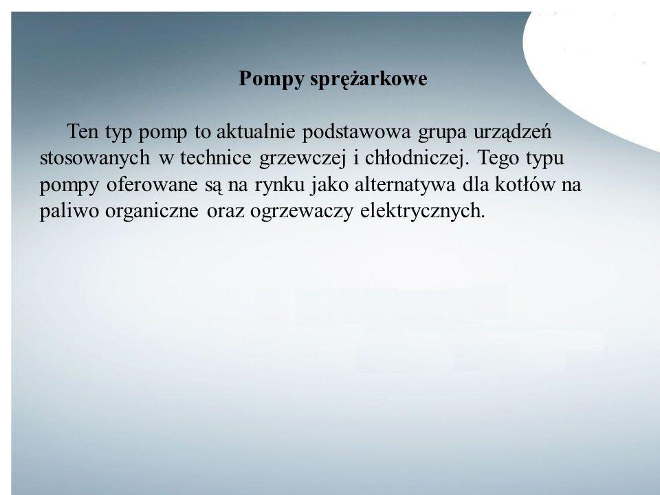 Pompy sprężarkowe Ten typ pomp to aktualnie podstawowa grupa urządzeń stosowanych w technice grzewczej i chłodniczej. Tego typu pompy oferowane są na