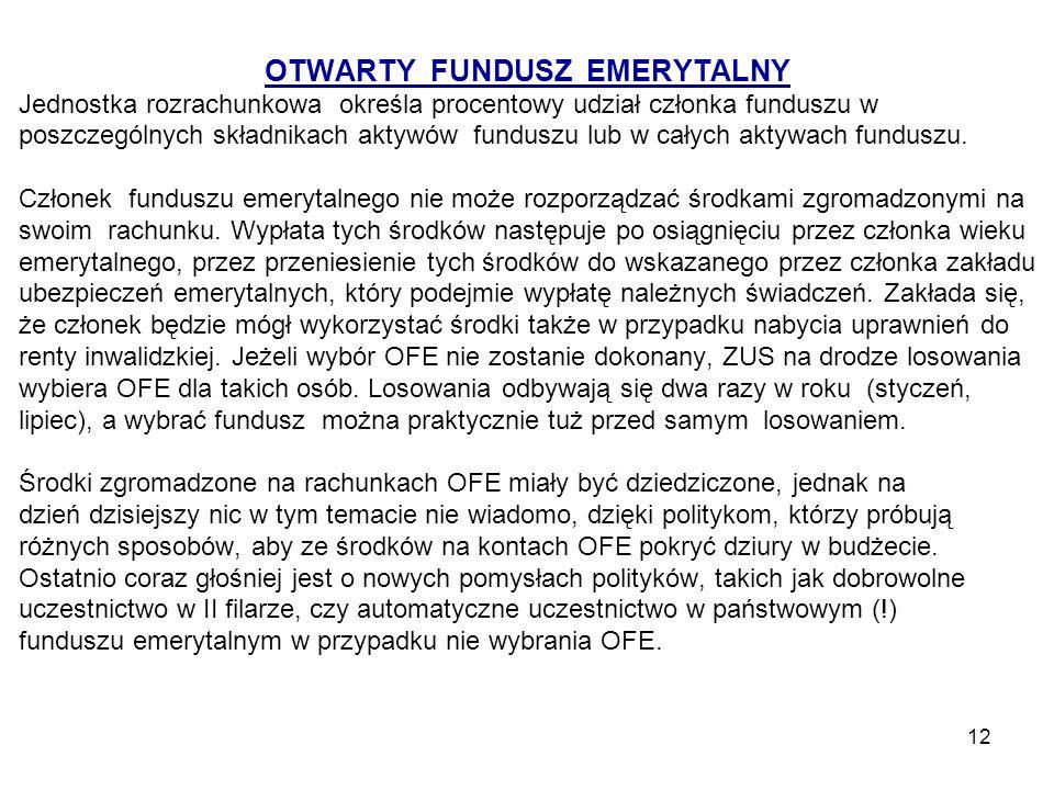 12 OTWARTY FUNDUSZ EMERYTALNY Jednostka rozrachunkowa określa procentowy udział członka funduszu w poszczególnych składnikach aktywów funduszu lub w c