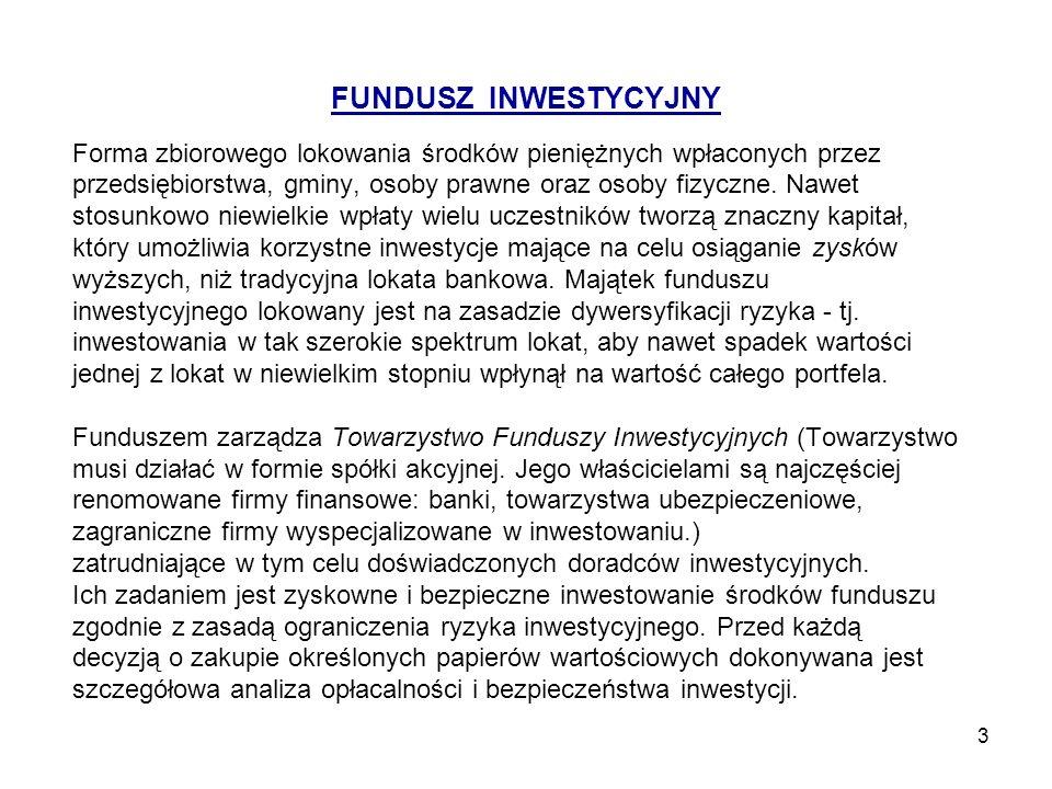 4 Różnice pomiędzy funduszem emerytalnym a inwestycyjnym otwarte fundusze emerytalne nie mogą odmówić prawa przystąpienia do funduszu ani zabronić zmiany funduszu, osobie, która chce to uczynić i spełnia wymagane warunki.