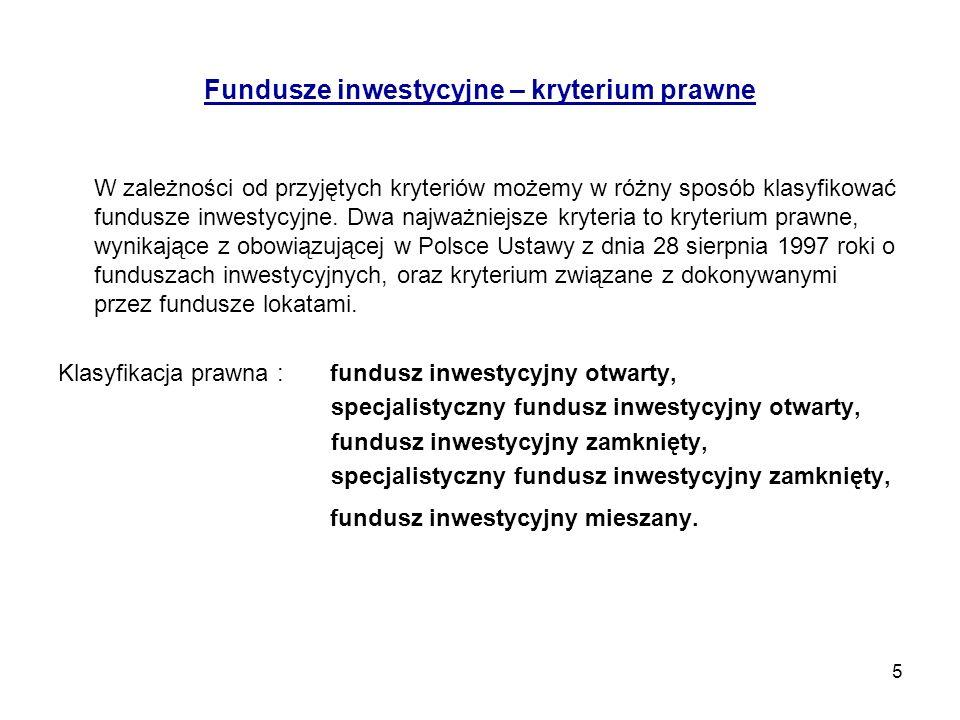 6 OTWARTY FUNDUSZ INWESTYCYJNY Wyodrębniony majątek przechowywany przez depozytariusza (bank), mający osobowość prawną, obejmujący różne rodzaje lokat oraz środki pieniężne, podzielony na jednostki uczestnictwa (udziały); zarządzany przez towarzystwo funduszy inwestycyjnych - prowadzące politykę inwestycyjną funduszu i dążące do osiągnięcia przyjętego przez fundusz celu inwestycyjnego (przypisywanej stopy zwrotu), przy zachowaniu ograniczeń wynikających z przepisów Ustawy o funduszach inwestycyjnych , a także w zgodzie z treścią statutu funduszu.