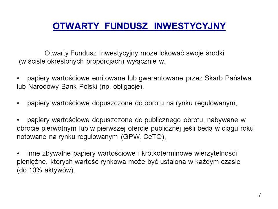 7 OTWARTY FUNDUSZ INWESTYCYJNY Otwarty Fundusz Inwestycyjny może lokować swoje środki (w ściśle określonych proporcjach) wyłącznie w: papiery wartości
