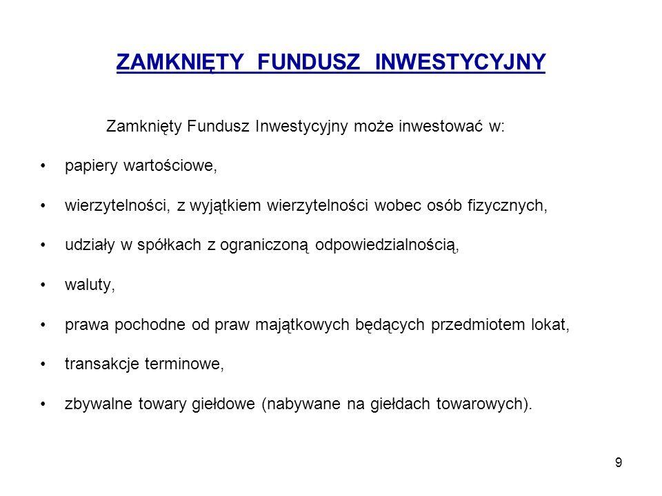 10 Różnice pomiędzy otwartym a zamkniętym funduszem inwestycyjnym OFI emituje jednostki uczestnictwa jest obowiązany odkupić jednostki uczestnictwa na żądanie uczestnika emituje jednostki uczestnictwa w sposób ciągły inwestuje w papiery wartościowe posiada nieokreślony czas działalności ZFI emituje certyfikaty inwestycyjne nie odkupuje na bieżąco swoich jednostek uczestnictwa od ich posiadaczy certyfikatami obraca się na giełdzie papierów wartościowych oprócz papierów wartościowych może inwestować w wierzytelności (wyłącznie osób prawnych), udziały spółek z ograniczoną odpowiedzialnością, walutę, prawa pochodne oraz transakcje terminowe.