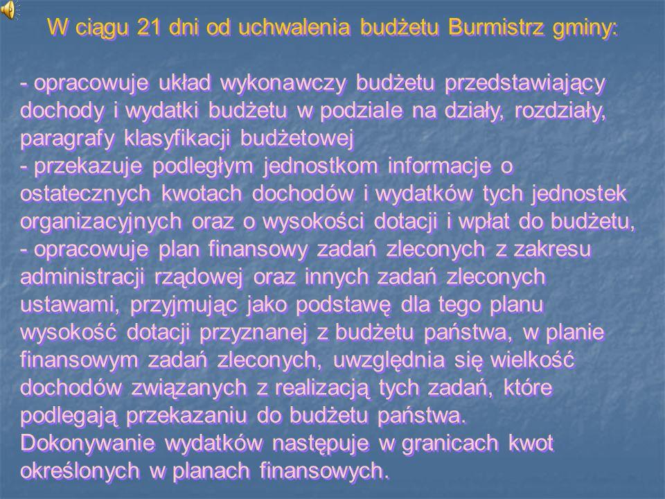 W ciągu 21 dni od uchwalenia budżetu Burmistrz gminy: - opracowuje układ wykonawczy budżetu przedstawiający dochody i wydatki budżetu w podziale na dz