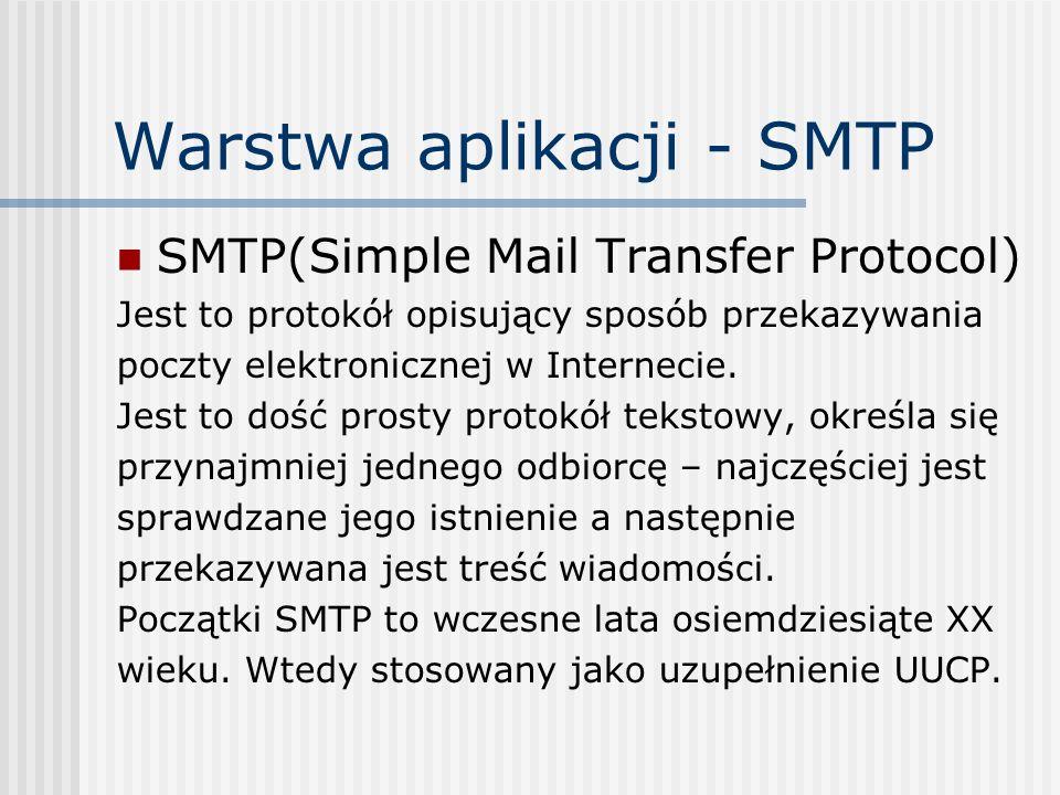 Warstwa aplikacji - SMTP SMTP(Simple Mail Transfer Protocol) Jest to protokół opisujący sposób przekazywania poczty elektronicznej w Internecie. Jest