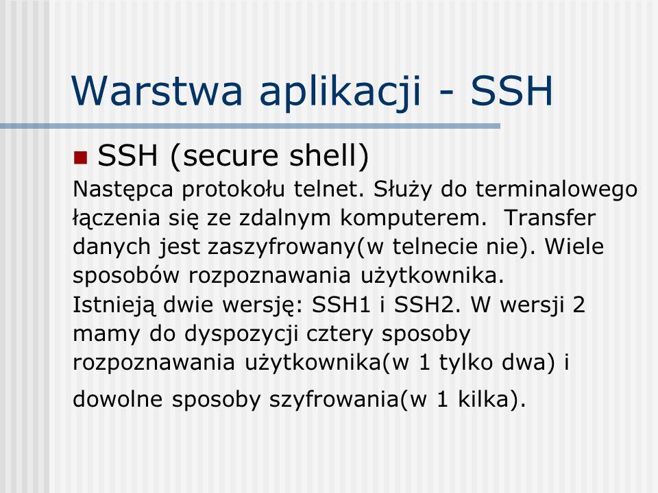 Warstwa aplikacji - SSH SSH (secure shell) Następca protokołu telnet.