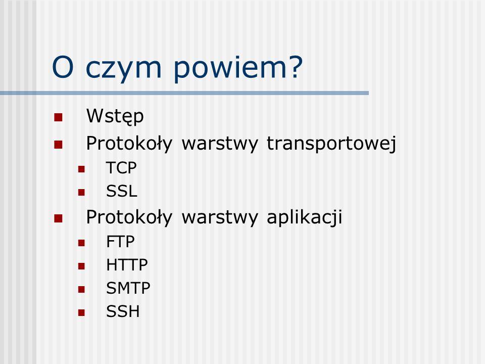 O czym powiem? Wstęp Protokoły warstwy transportowej TCP SSL Protokoły warstwy aplikacji FTP HTTP SMTP SSH