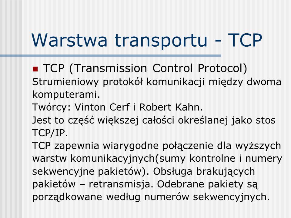 Warstwa transportu - TCP TCP (Transmission Control Protocol) Strumieniowy protokół komunikacji między dwoma komputerami. Twórcy: Vinton Cerf i Robert