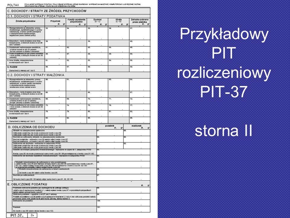 Przykładowy PIT rozliczeniowy PIT-37 storna II