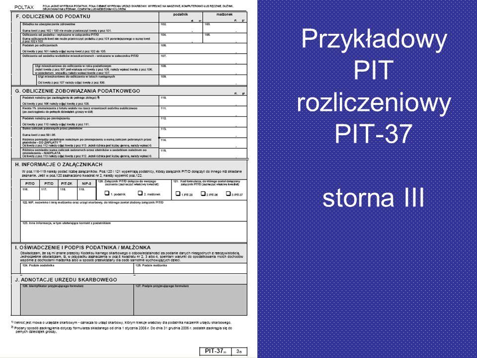Przykładowy PIT rozliczeniowy PIT-37 storna III