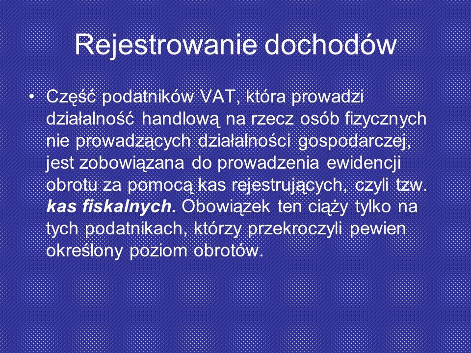 Rejestrowanie dochodów Część podatników VAT, która prowadzi działalność handlową na rzecz osób fizycznych nie prowadzących działalności gospodarczej,