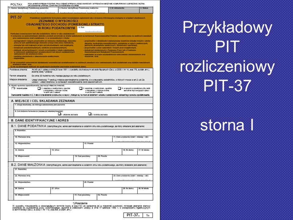 Przykładowy PIT rozliczeniowy PIT-37 storna I