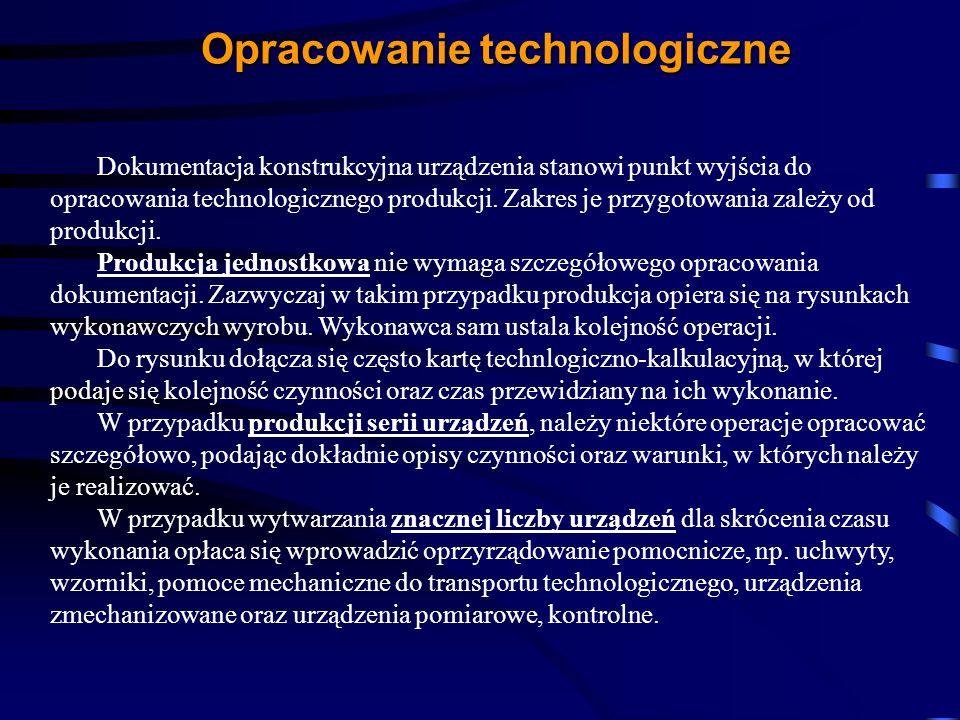Opracowanie technologiczne Dokumentacja konstrukcyjna urządzenia stanowi punkt wyjścia do opracowania technologicznego produkcji. Zakres je przygotowa
