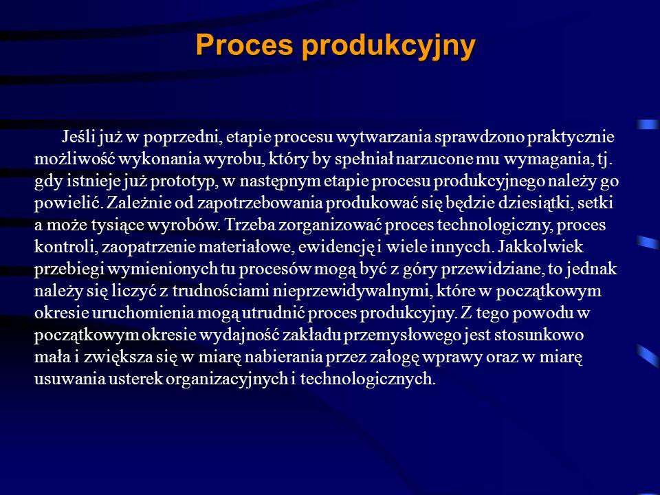 Jeśli już w poprzedni, etapie procesu wytwarzania sprawdzono praktycznie możliwość wykonania wyrobu, który by spełniał narzucone mu wymagania, tj. gdy