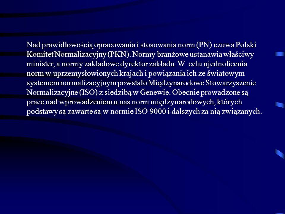 Nad prawidłowością opracowania i stosowania norm (PN) czuwa Polski Komitet Normalizacyjny (PKN). Normy branżowe ustanawia właściwy minister, a normy z