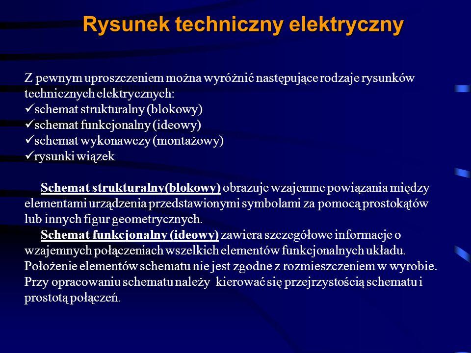 Rysunek techniczny elektryczny Z pewnym uproszczeniem można wyróżnić następujące rodzaje rysunków technicznych elektrycznych: schemat strukturalny (bl
