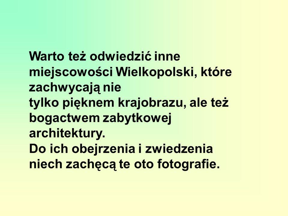 Warto też odwiedzić inne miejscowości Wielkopolski, które zachwycają nie tylko pięknem krajobrazu, ale też bogactwem zabytkowej architektury. Do ich o