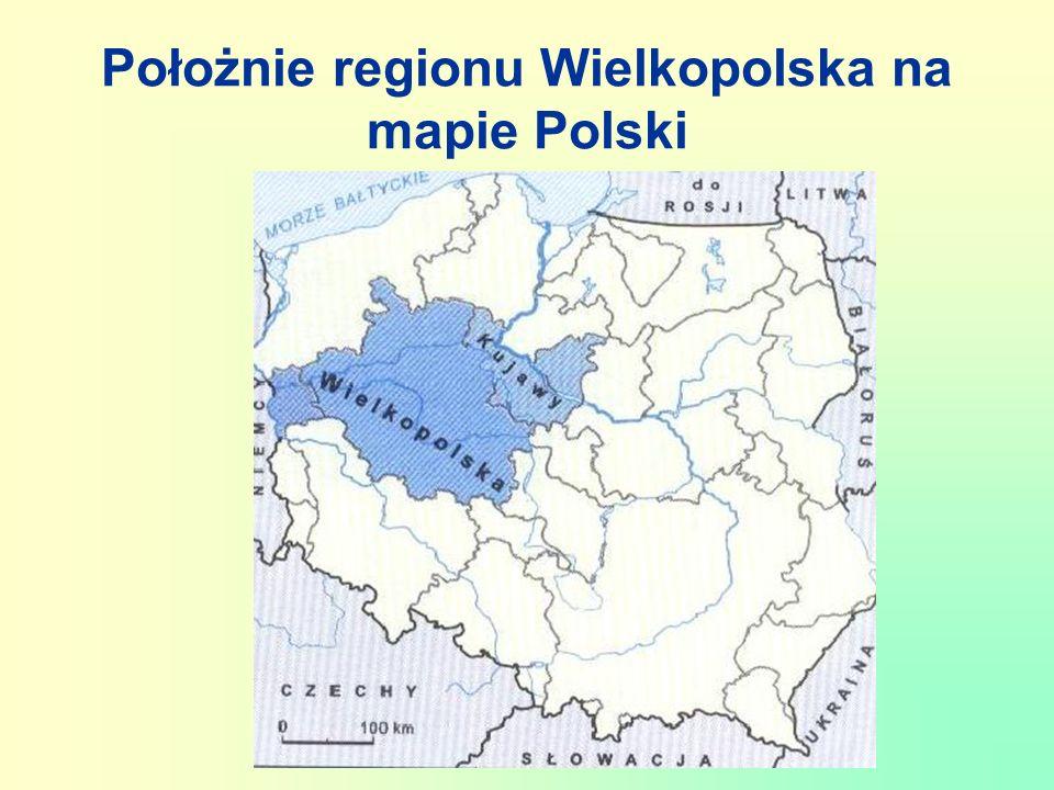Położnie regionu Wielkopolska na mapie Polski