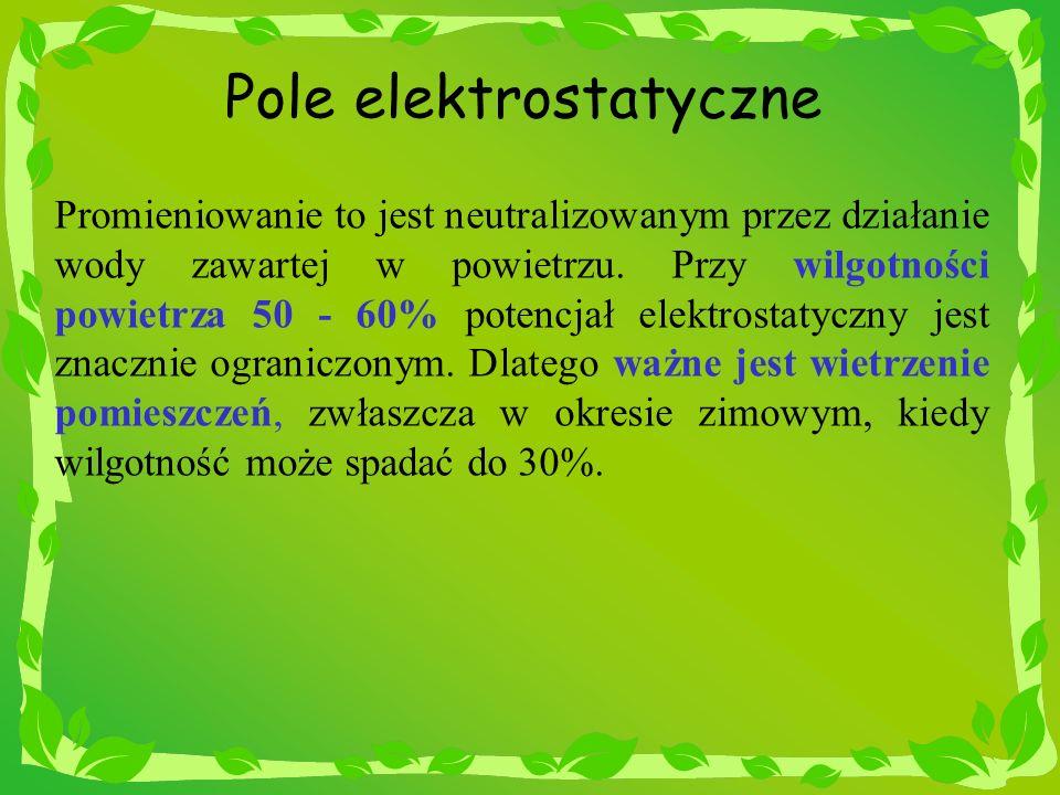 Pole elektrostatyczne Promieniowanie to jest neutralizowanym przez działanie wody zawartej w powietrzu. Przy wilgotności powietrza 50 - 60% potencjał