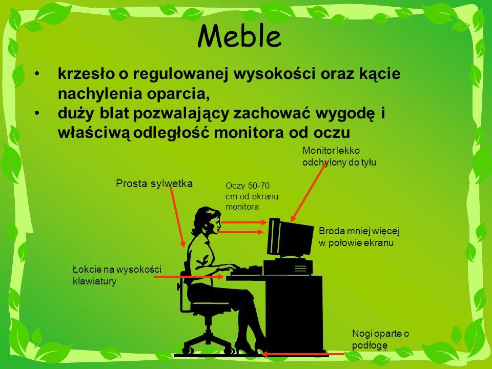 Podstawowe zasady właściwej postawy w czasie pracy, cd: Przysuwać się jak najbliżej do oparcia krzesła, rozwierając jak najszerzej kolana i opierając się o podłogę cała powierzchnia stóp.