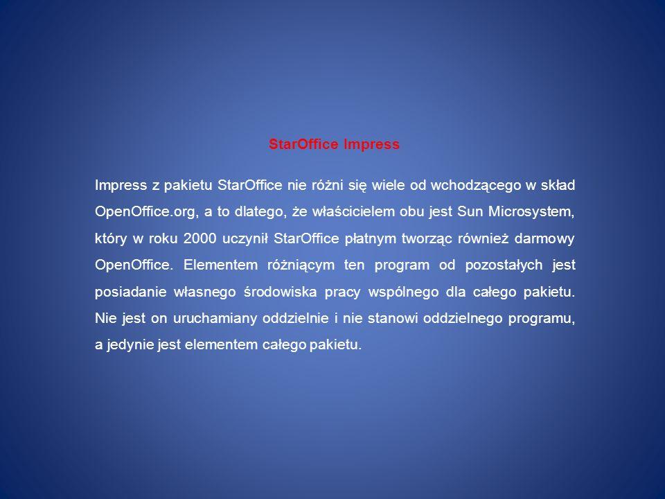 StarOffice Impress Impress z pakietu StarOffice nie różni się wiele od wchodzącego w skład OpenOffice.org, a to dlatego, że właścicielem obu jest Sun
