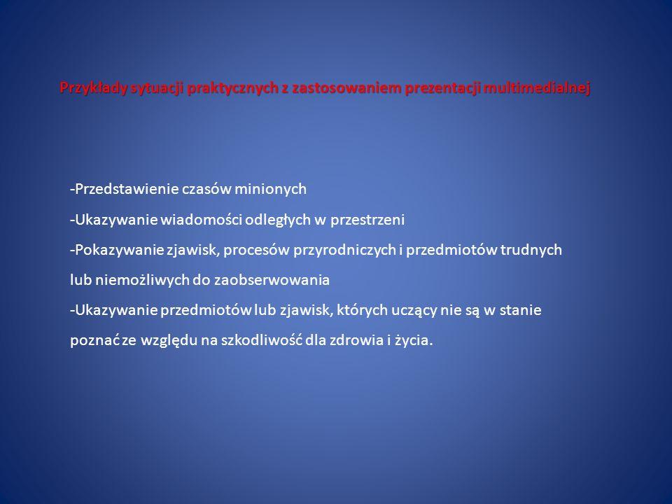 Przykłady sytuacji praktycznych z zastosowaniem prezentacji multimedialnej -Przedstawienie czasów minionych -Ukazywanie wiadomości odległych w przestr
