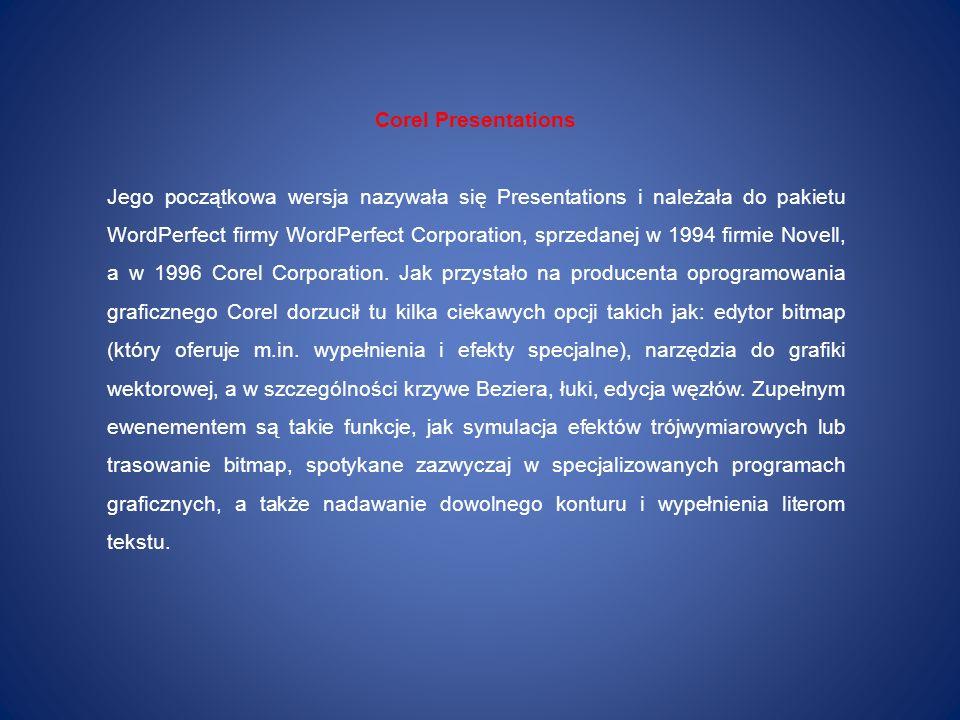 Corel Presentations Jego początkowa wersja nazywała się Presentations i należała do pakietu WordPerfect firmy WordPerfect Corporation, sprzedanej w 19
