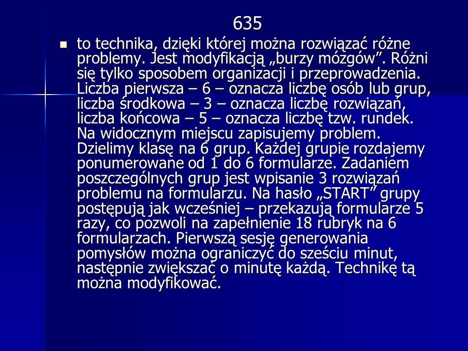 635 to technika, dzięki której można rozwiązać różne problemy. Jest modyfikacją burzy mózgów. Różni się tylko sposobem organizacji i przeprowadzenia.