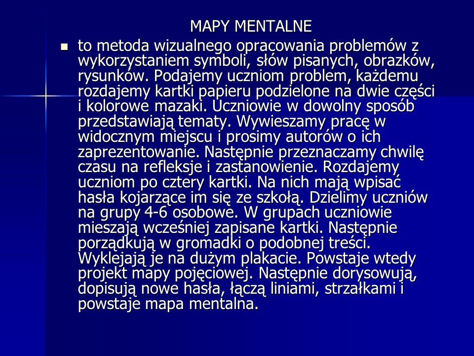 MAPY MENTALNE to metoda wizualnego opracowania problemów z wykorzystaniem symboli, słów pisanych, obrazków, rysunków. Podajemy uczniom problem, każdem
