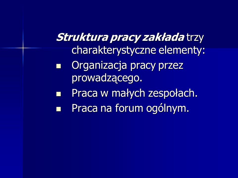 Struktura pracy zakłada trzy charakterystyczne elementy: Organizacja pracy przez prowadzącego. Organizacja pracy przez prowadzącego. Praca w małych ze