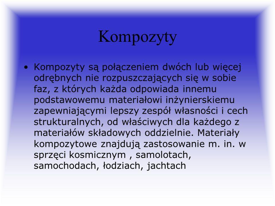 Kompozyty Kompozyty są połączeniem dwóch lub więcej odrębnych nie rozpuszczających się w sobie faz, z których każda odpowiada innemu podstawowemu mate