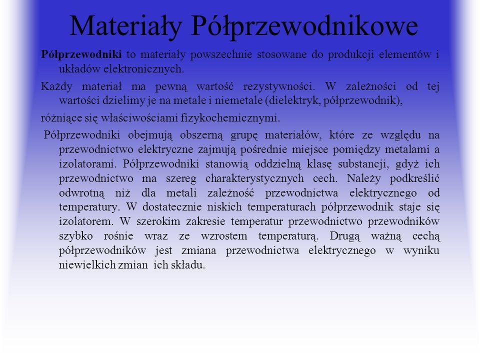 Materiały Półprzewodnikowe Półprzewodniki to materiały powszechnie stosowane do produkcji elementów i układów elektronicznych. Każdy materiał ma pewną
