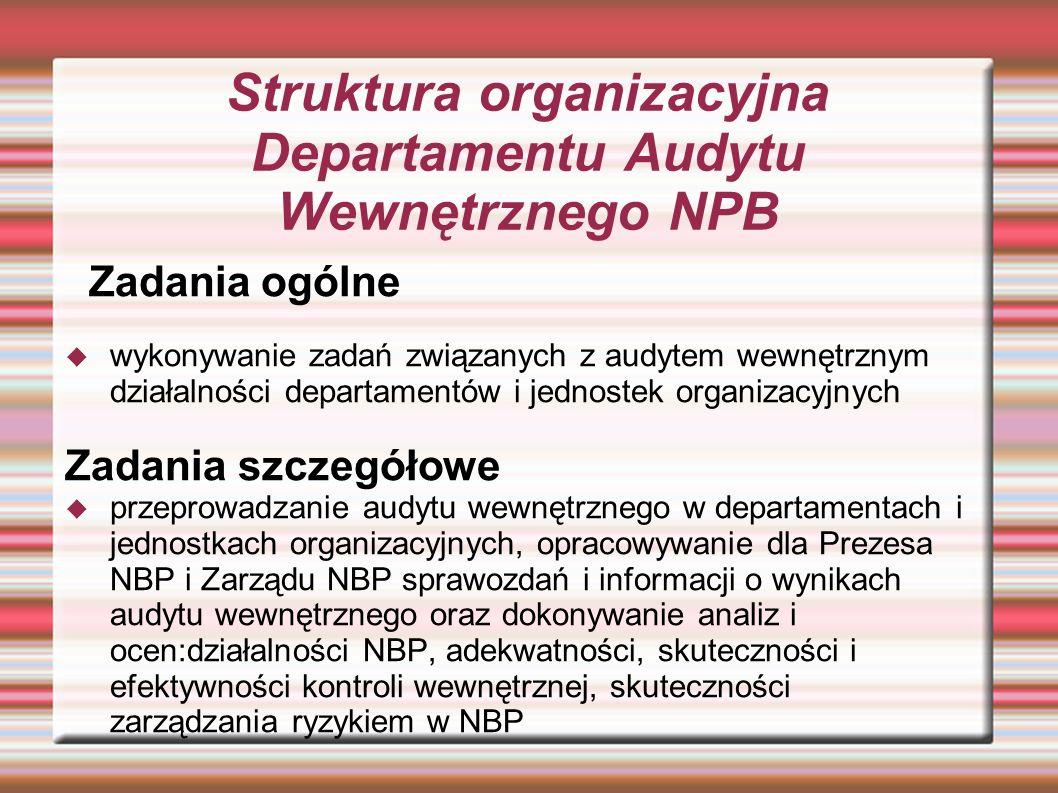 Struktura organizacyjna Departamentu Audytu Wewnętrznego NPB Zadania ogólne wykonywanie zadań związanych z audytem wewnętrznym działalności departamen