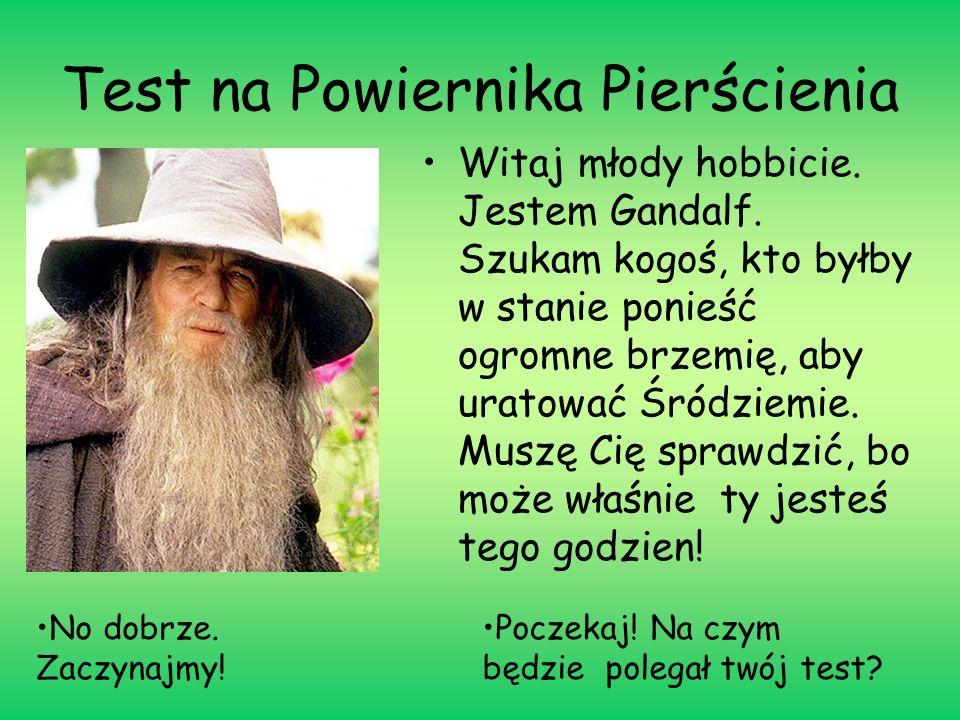 Test na Powiernika Pierścienia Witaj młody hobbicie. Jestem Gandalf. Szukam kogoś, kto byłby w stanie ponieść ogromne brzemię, aby uratować Śródziemie