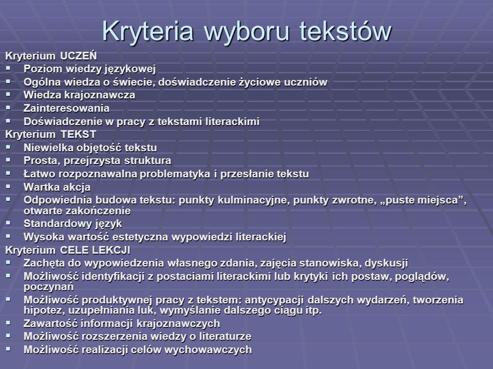 Kryteria wyboru tekstów Kryterium UCZEŃ Poziom wiedzy językowej Poziom wiedzy językowej Ogólna wiedza o świecie, doświadczenie życiowe uczniów Ogólna