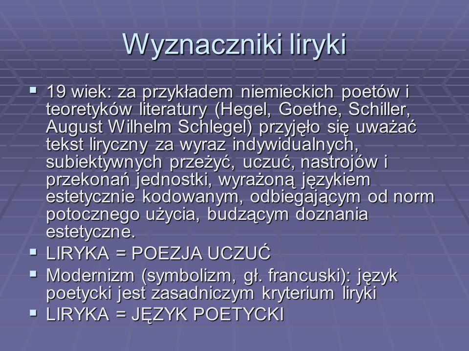 Elementy liryki Strukturalistyczne definicje liryki wymieniają jako jej konstytutywne elementy: podmiot liryczny – nadawca monologu lirycznego, którego wypowiedzi organizują całokształt tekstu, podmiot liryczny – nadawca monologu lirycznego, którego wypowiedzi organizują całokształt tekstu, sytuację liryczną (tzn.