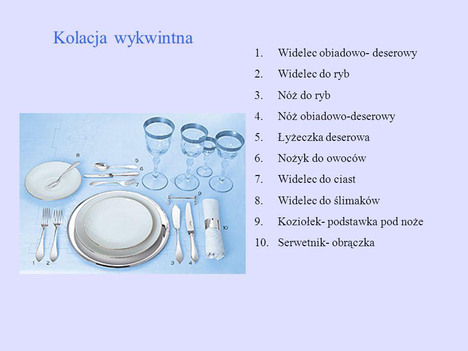 1.Widelec obiadowo- deserowy 2.Widelec do ryb 3.Nóż do ryb 4.Nóż obiadowo-deserowy 5.Łyżeczka deserowa 6.Nożyk do owoców 7.Widelec do ciast 8.Widelec