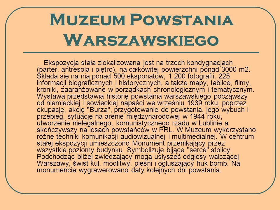 Muzeum Powstania Warszawskiego Ekspozycja stała zlokalizowana jest na trzech kondygnacjach (parter, antresola i piętro), na całkowitej powierzchni pon